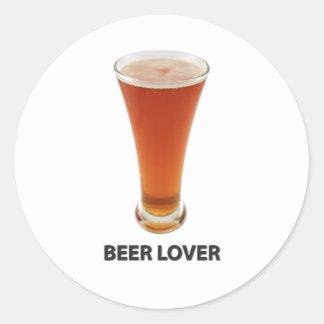 Amante de la cerveza pegatina redonda