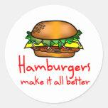 Amante de la hamburguesa etiqueta redonda