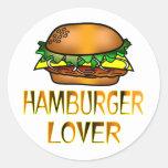 Amante de la hamburguesa etiquetas