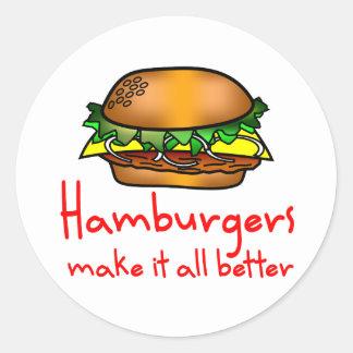 Amante de la hamburguesa pegatina redonda
