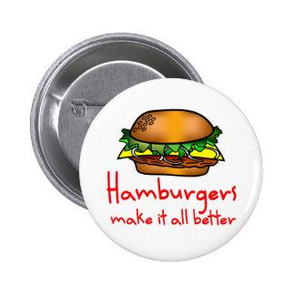 Amante de la hamburguesa pin redondo de 2 pulgadas