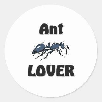 Amante de la hormiga etiqueta redonda