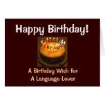 Amante de la lengua del feliz cumpleaños felicitación