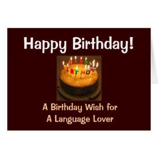 Amante de la lengua del feliz cumpleaños tarjeta de felicitación