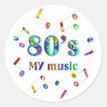 amante de la música 80s pegatina redonda