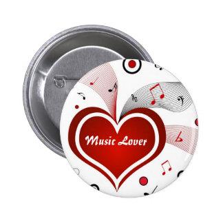 Amante de la música - botón del Pin