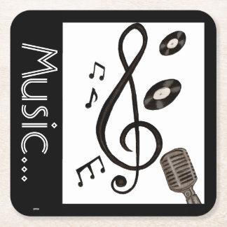 Amante de la música posavasos desechable cuadrado