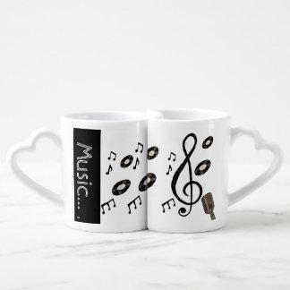 Amante de la música set de tazas de café
