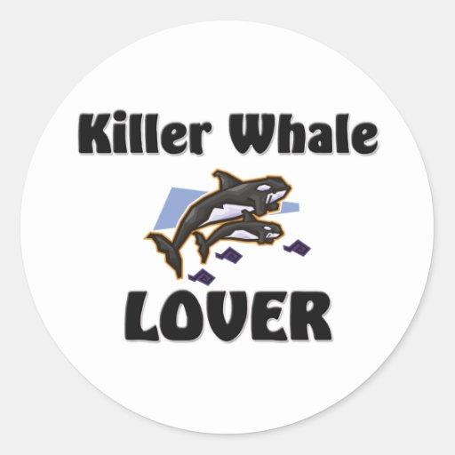 Amante de la orca pegatina redonda
