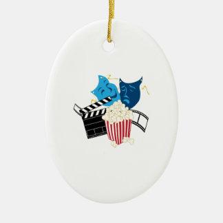 Amante de la película adorno navideño ovalado de cerámica
