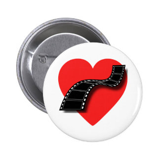 Amante de la película con el corazón y la tira roj pins