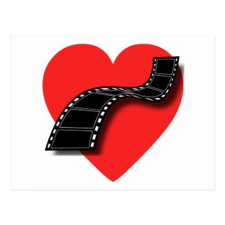 Amante de la película con el corazón y la tira tarjetas postales