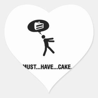 Amante de la torta pegatina en forma de corazón