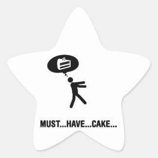 Amante de la torta pegatina en forma de estrella