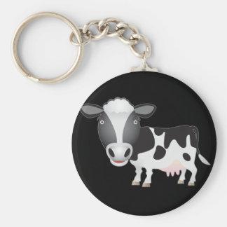 Amante de la vaca llavero redondo tipo pin