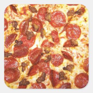 Amante de los salchichones y de la pizza de salchi calcomanía cuadradas personalizadas