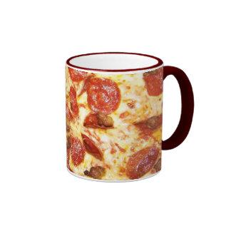Amante de los salchichones y de la pizza de taza de dos colores