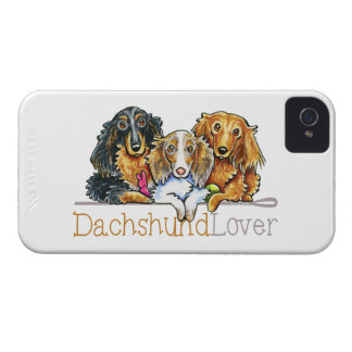 Amante de pelo largo del Dachshund iPhone 4 Case-Mate Cárcasa