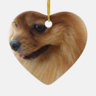 Amante de Pomeranian Adorno Navideño De Cerámica En Forma De Corazón