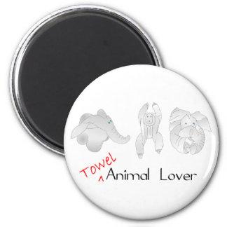 Amante del animal de la toalla imán redondo 5 cm