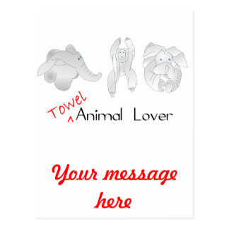 Amante del animal de la toalla postal