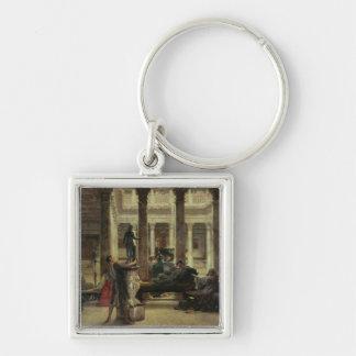 Amante del arte romano, 1870 (aceite en lona) llavero cuadrado plateado