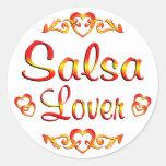 Amante del baile de la salsa etiqueta redonda