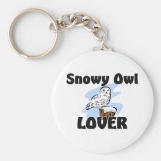 Amante del búho Nevado Llavero