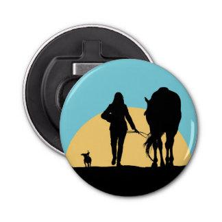 Amante del caballo abrebotellas redondo