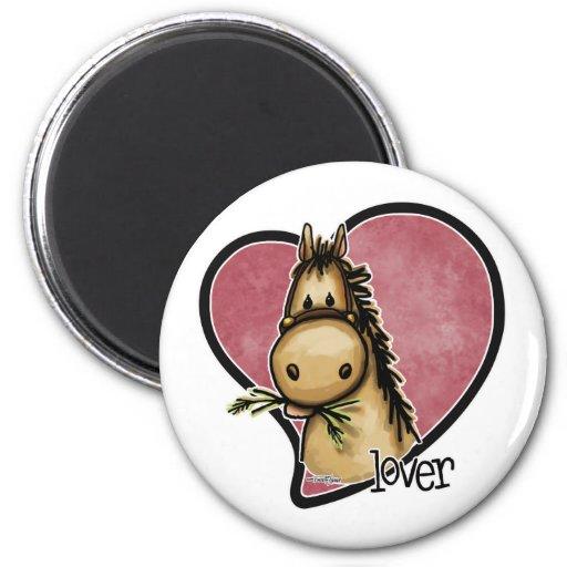 Amante del caballo imán redondo 5 cm