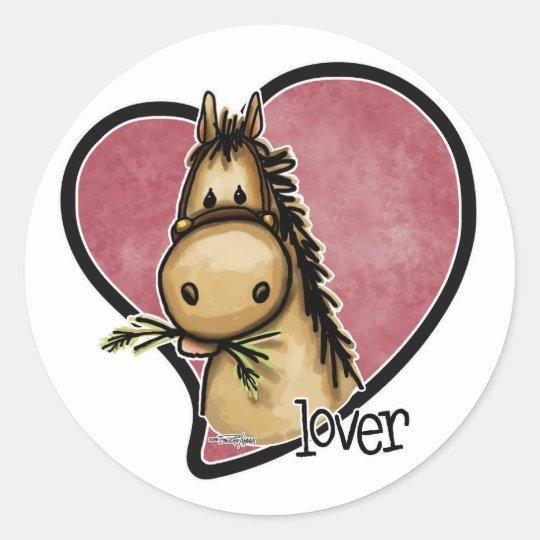Amante del caballo pegatina redonda