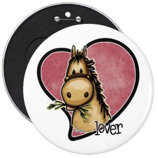Amante del caballo pin redondo de 6 pulgadas