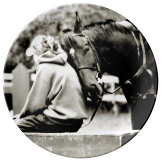 Amante del caballo plato de cerámica