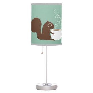 Amante del café de la ardilla lámpara de mesa