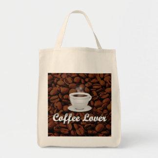 Amante del café, habas blancas de la taza/Brown Bolsa Tela Para La Compra
