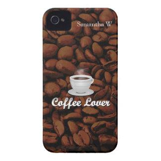 Amante del café, habas blancas de la taza/Brown Case-Mate iPhone 4 Cobertura
