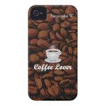 Amante del café, habas blancas de la taza/Brown iPhone 4 Case-Mate Cobertura