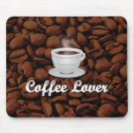 Amante del café, habas blancas de la taza/Brown Tapete De Raton