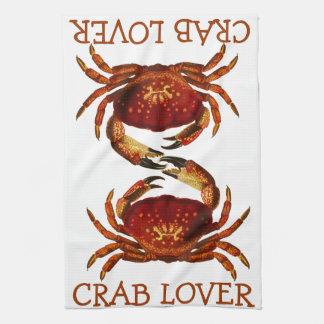 Amante del cangrejo toallas de mano