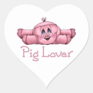 Amante del cerdo pegatina en forma de corazón