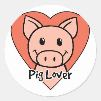 Amante del cerdo pegatina redonda