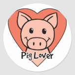 Amante del cerdo pegatinas redondas