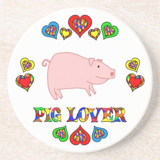 Amante del cerdo posavasos diseño