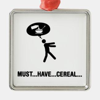 Amante del cereal adorno navideño cuadrado de metal