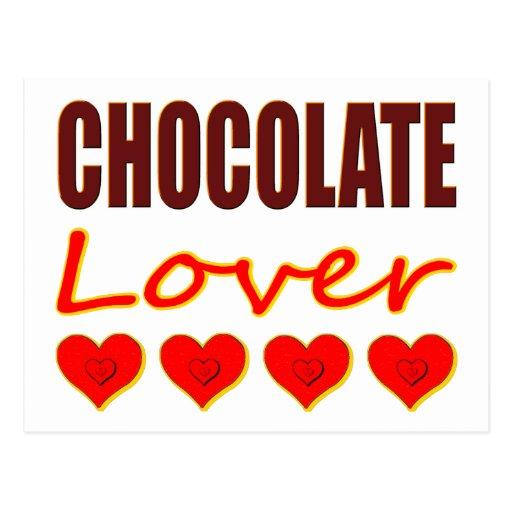 Amante del chocolate con las cajas en forma de postales