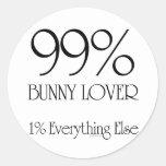 Amante del conejito del 99% etiqueta redonda