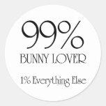 Amante del conejito del 99% etiquetas redondas