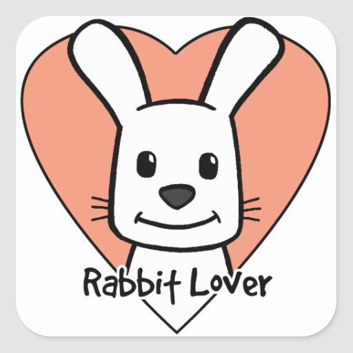 Amante del conejo pegatina cuadrada