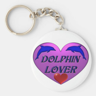 Amante del delfín llavero redondo tipo pin