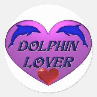 Amante del delfín pegatina redonda